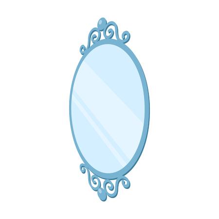 An elegant, oval-shaped mirror. Interior single icon in cartoon style Isometric vector symbol stock illustration web.