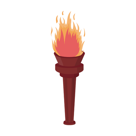 Street lamp in the form of a torch with an open fire.Lamppost single icon in cartoon style vector symbol stock illustration web.