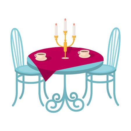 Served table in the restaurant. Furniture single icon in cartoon style Isometric vector symbol stock illustration web.