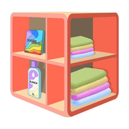 A rack in the bathroom for laundry and detergents. Furniture single icon in cartoon style Isometric vector symbol stock illustration web. Illustration
