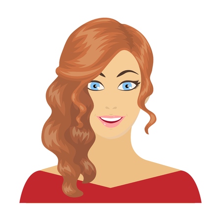 The face of a woman with a hairdo. Face and appearance single icon in cartoon style vector symbol stock illustration web. 向量圖像