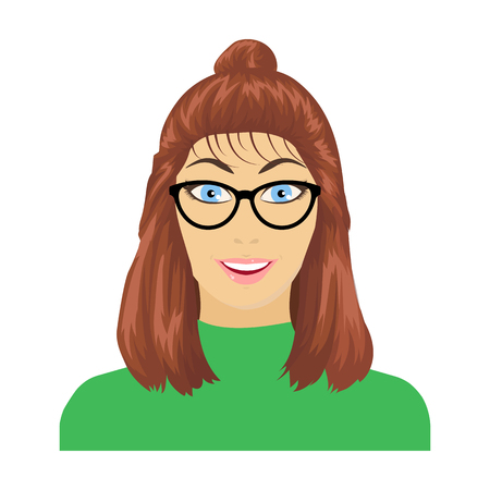 The girls face is wearing glasses. Face and appearance single icon in cartoon style vector symbol stock illustration web.
