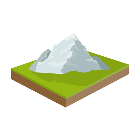 Mountains, rocks and landscape. Relief and mountains single icon in cartoon style isometric vector symbol stock illustration web.