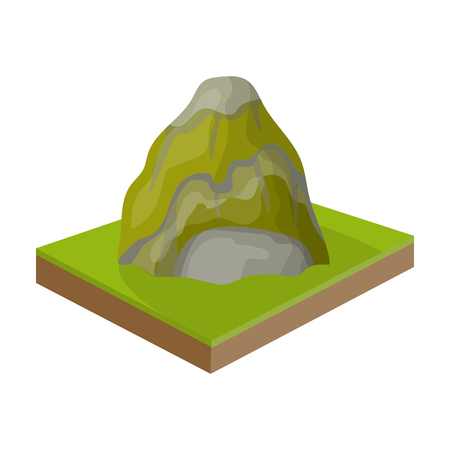 relievo: Mountains, rocks and landscape. Relief and mountains single icon in cartoon style isometric vector symbol stock illustration web.