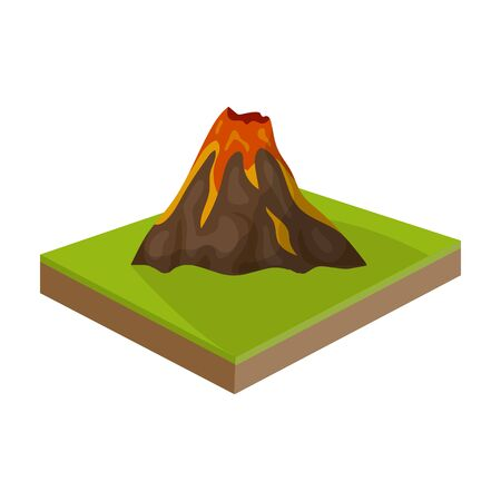 Mountains,volcano and landscape. Relief and mountains single icon in cartoon style isometric vector symbol stock illustration web.