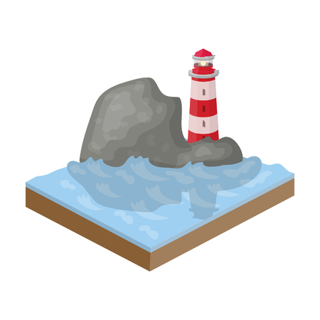 Mountains, lighthouse and Sea . Relief and mountains single icon in cartoon style isometric vector symbol stock illustration web.