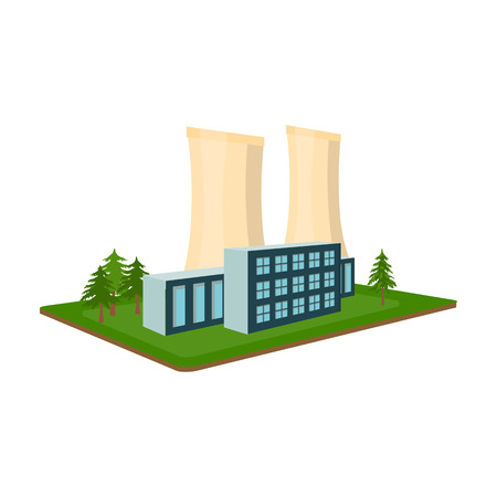 Metallurgical plant. Factory and industry single icon in cartoon style isometric vector symbol stock illustration web. Иллюстрация