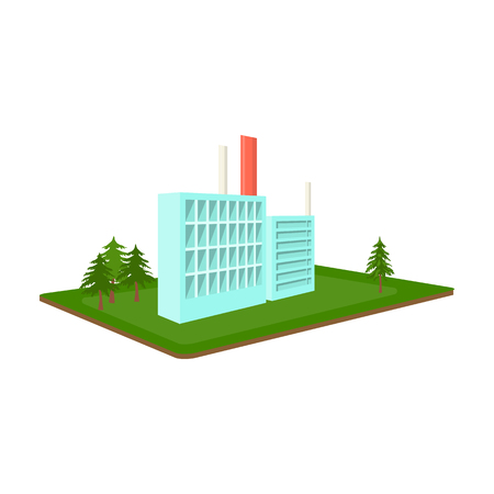 Processing factory. Factory and industry single icon in cartoon style isometric vector symbol stock illustration web.