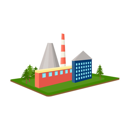 premises: Processing factory. Factory and industry single icon in cartoon style isometric vector symbol stock illustration web.