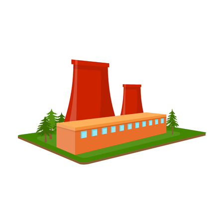 Metallurgical plant. Factory and industry single icon in cartoon style isometric vector symbol stock illustration web. Фото со стока - 84494320