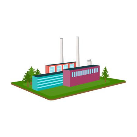 Verwerkende fabriek. Fabrieks-en industrie enkele pictogram in cartoon stijl isometrische vector symbool stock illustratie web.