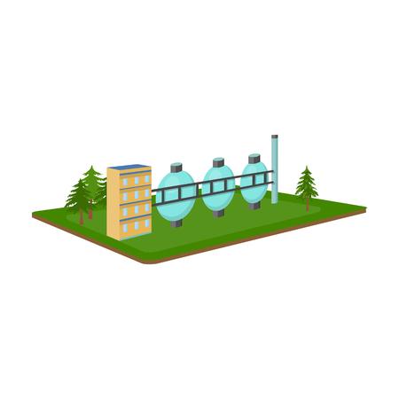 Chemische productie. Stoffen en industrie één pictogram in cartoon stijl isometrische vector symbool stock illustratie web. Vector Illustratie