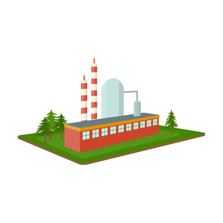 company premises: Processing factory. Factory and industry single icon in cartoon style isometric vector symbol stock illustration web.