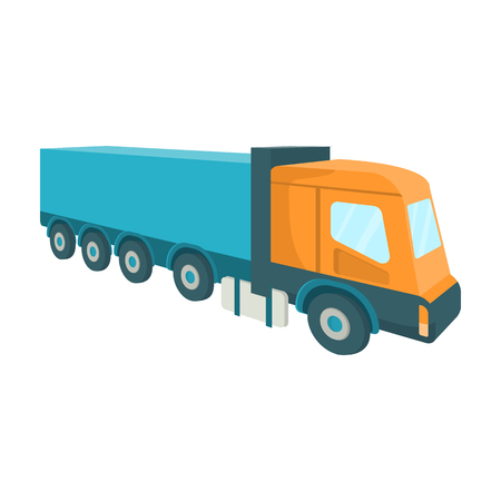 hauling: A large truck for the transport of goods. Transportation and delivery single icon in cartoon style isometric vector symbol stock illustration web.