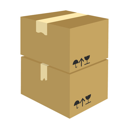 Packaged boxes with goods. Logistics delivery single icon in cartoon style isometric vector symbol stock illustration web. Ilustração