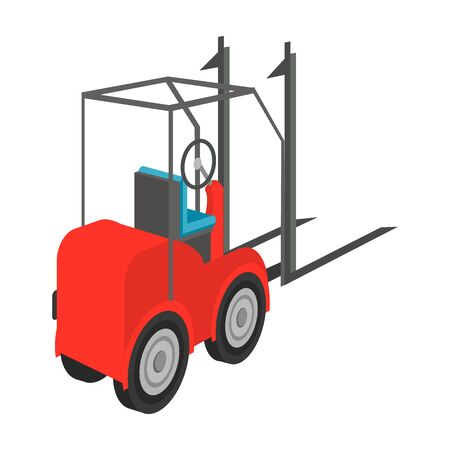 hauling: Loader for moving loads. Transportation and delivery single icon in cartoon style isometric vector symbol stock illustration web.