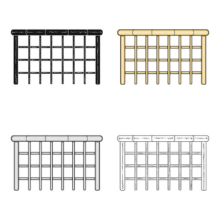 palisade: A wooden fence. A different fence single icon in cartoon style vector symbol stock illustration web.