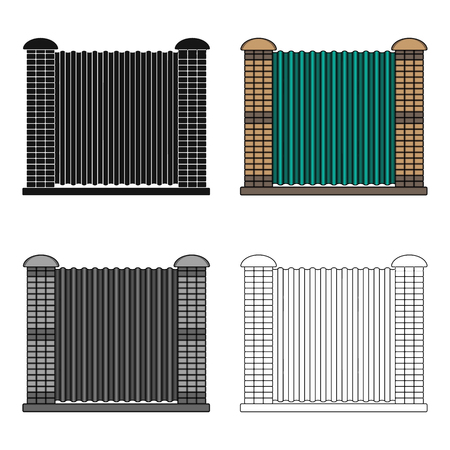 palisade: Different fence single icon in cartoon style vector symbol stock illustration . Illustration
