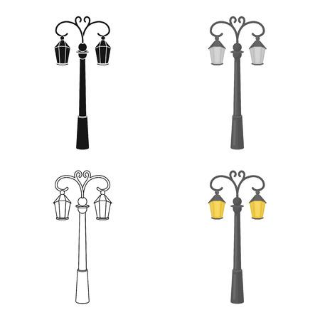 Street lights in retro style. Lamppost single icon in cartoon style vector symbol stock illustration. Illustration