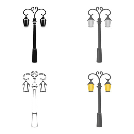 plafond: Street lights in retro style. Lamppost single icon in cartoon style vector symbol stock illustration. Illustration