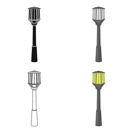Street lights in retro style. Lamppost single icon in cartoon style symbol stock illustration .