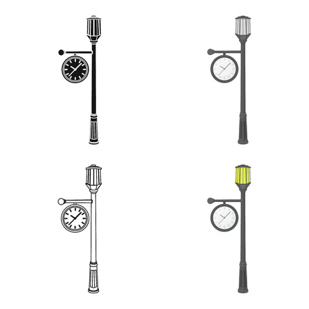 Lamppost with a clock.Lamppost single icon in cartoon style vector symbol stock illustration . Illustration