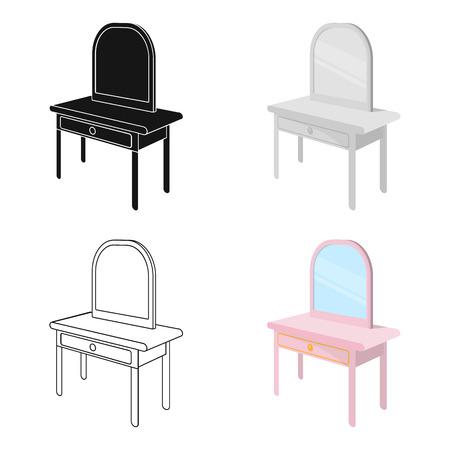 Toilettafel met spiegel. Meubels en interieur één pictogram in cartoon stijl Isometrische vector symbool stock illustratie.