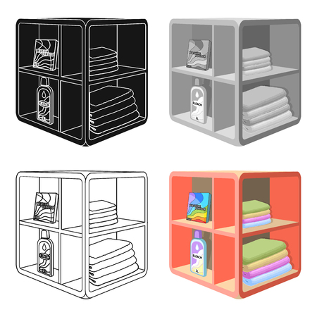 A rack in the bathroom for laundry and detergents. Furniture single icon in cartoon style Isometric symbol stock illustration .