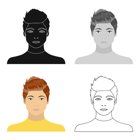 The face of a young guy. Face and appearance single icon in cartoon style vector symbol stock illustration . Иллюстрация