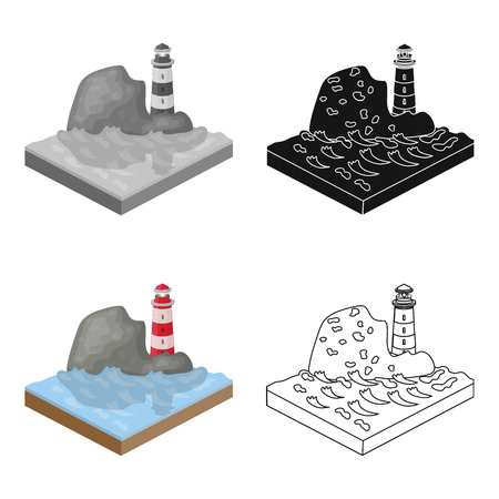 Mountains,lighthouse and Sea. Relief and mountains single icon in cartoon style isometric vector symbol stock illustration . Illustration