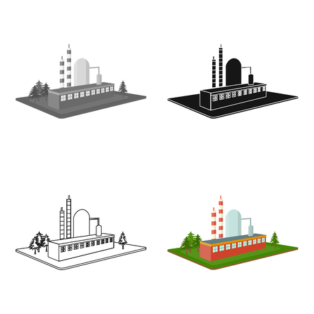 premises: Processing factory. Factory and industry single icon in cartoon style isometric vector symbol stock illustration. Illustration
