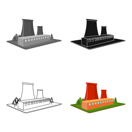 Metallurgical plant. Factory and industry single icon in cartoon style isometric vector symbol stock illustration. Фото со стока - 84366902