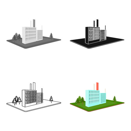 Processing factory. Factory and industry single icon in cartoon style isometric vector symbol stock illustration. Ilustração