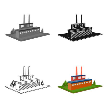 Verwerkende fabriek. Factory en industrie single icon in cartoon stijl isometrische vector symbool stock illustratie.