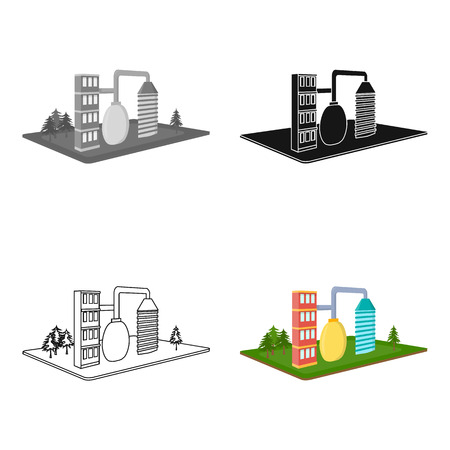 company premises: Processing factory. Factory and industry single icon in cartoon style isometric vector symbol stock illustration .