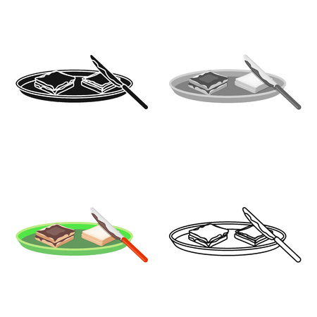 butter knife: Tasty food, a sandwich with chocolate.Food single icon in cartoon style vector symbol stock illustration . Illustration