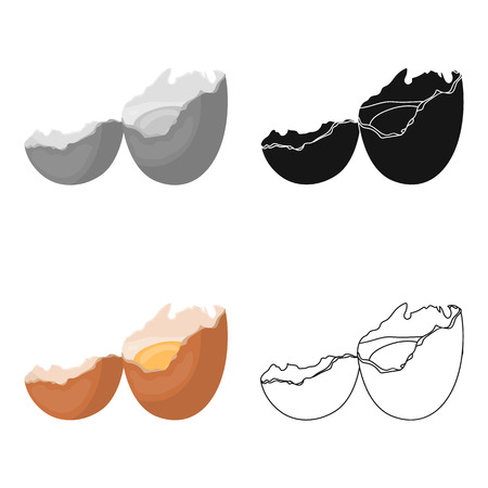 壊れた卵。Egg.and 単一漫画スタイルのベクトル シンボル ストック イラストのアイコンを調理します。