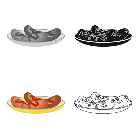 Tasty food, fried sausages. Eating and cooking single icon in cartoon style vector symbol stock illustration .