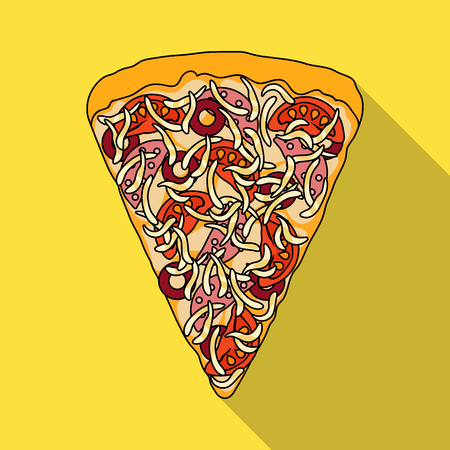 A slice of pizza with different ingredients. Different pizza single icon in flat style vector symbol stock illustration web.