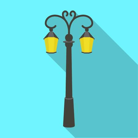 Street lights in retro style. Lamppost single icon in flat style vector symbol stock illustration .