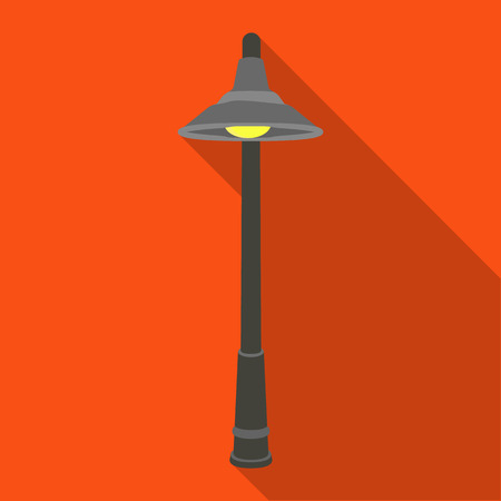 Lamppost with a conic bubble.Lamppost single icon in flat style vector symbol stock illustration . Stok Fotoğraf - 84401251
