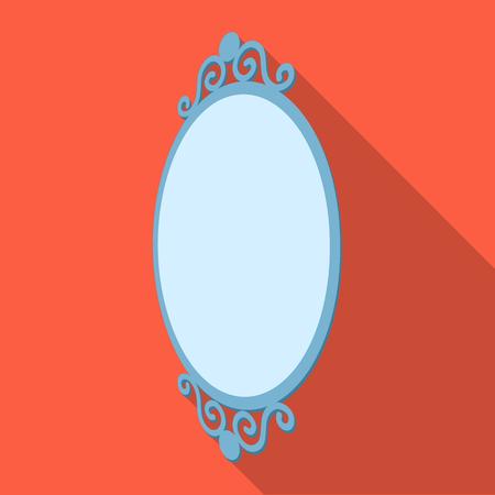 An elegant, oval-shaped mirror. Interior single icon in flat style Isometric vector symbol stock illustration . Illustration