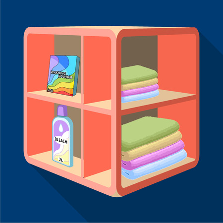A rack in the bathroom for laundry and detergents. Furniture single icon in flat style Isometric vector symbol stock illustration . Illustration