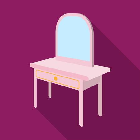 Toilettafel met spiegel. Meubels en interieur één pictogram in vlakke stijl Isometrische vector symbool stock illustratie.