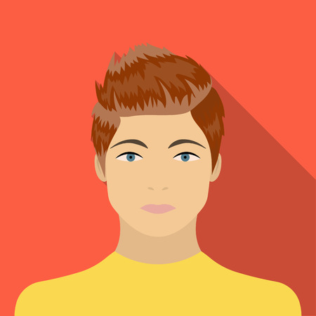 The face of a young guy. Face and appearance single icon in flat style vector symbol stock illustration . Illustration