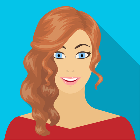 The face of a woman with a hairdo. Face and appearance single icon in flat style vector symbol stock illustration . Illustration