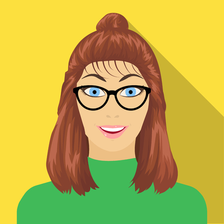 The girls face is wearing glasses. Face and appearance single icon in flat style vector symbol stock illustration . Illustration