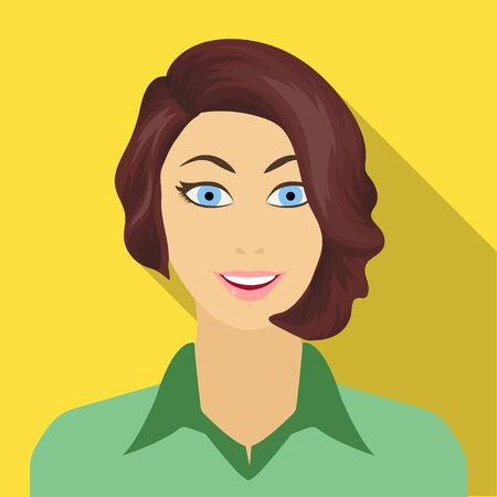 The face of a woman with a hairdo. Face and appearance single icon in flat style vector symbol stock illustration . 向量圖像