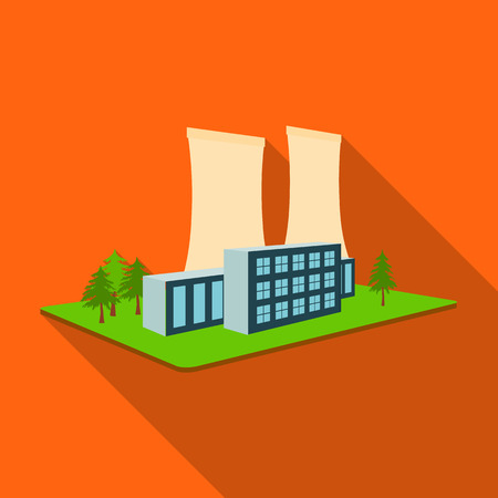 Metallurgical plant. Factory and industry single icon in flat style isometric vector symbol stock illustration . Иллюстрация