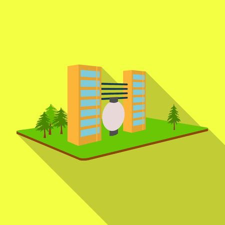 加工工場。フラット スタイル等尺性のベクトル シンボル ストック イラストでの工場および産業の 1 つのアイコン。